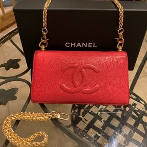 Chanel Red Caviar Leather Classic Wallet on Chain